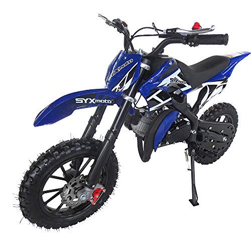 SYX MOTO Kids Dirt Bike Holeshot 50cc Gas Power Mini Dirt Bike Pit Bike Fully Automatic Transmission (Blue, Year 2021)