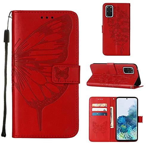 WJMWF Compatible con Funda Samsung Galaxy S20 Plus Mariposa Volador Patrón en Relieve PU Cuero Wallet Caso [Cierres Magnéticos] [Ranuras para Tarjetas] [Soporte Plegable] Anti-Shock Cáscara-Rojo