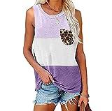 Camisola Mujer Personalidad Moda Verano Cuello Redondo Mujer Tops Exquisito Leopardo Bolsillo Impresión Contraste Color Sin Mangas Diseño Diario Casual All-Match Mujer Blusa G-Purple L