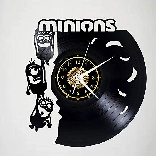 Minions Vinyl Schallplatte Wanduhr Led Leuchtende Silhouette Rekord Handgefertigte Kunst Schlafzimmer Dekor Geschenk Keine Led-Licht 12 Zoll