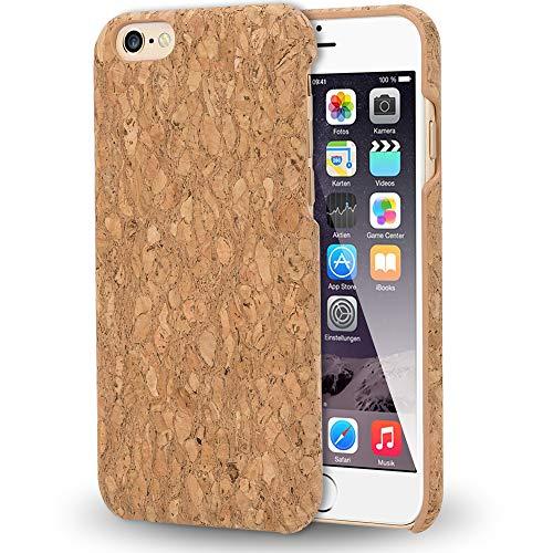 NALIA Sughero Custodia compatibile con iPhone 6 6s, Sottile Cover Effetto Legno Hard-Case Protettiva per Cellulare, Rigida Protezione Ultra-Slim Telefono Bumper, Designs:Light Cork Pattern