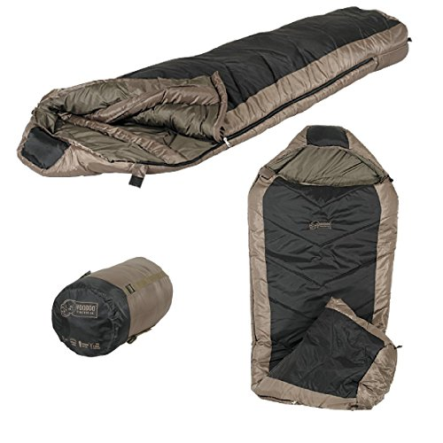 NorthStar Voodoo Tactical Double Layer Mummy Compactible Right Zipper Sleeping Bag, Black/Coyote