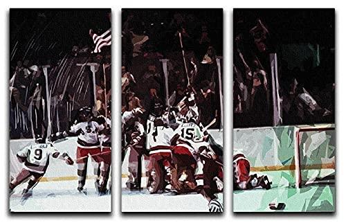 Impresiones sobre Lienzo 3 Pieza HD Imprime Póster Miracle on Ice Equipo de hockey sobre hielo 3 Hojas Pintura De Arte De Pared Modular De 3 Piezas De La Sala Dormitorio De Estar-50X70Cmx3 Piezas