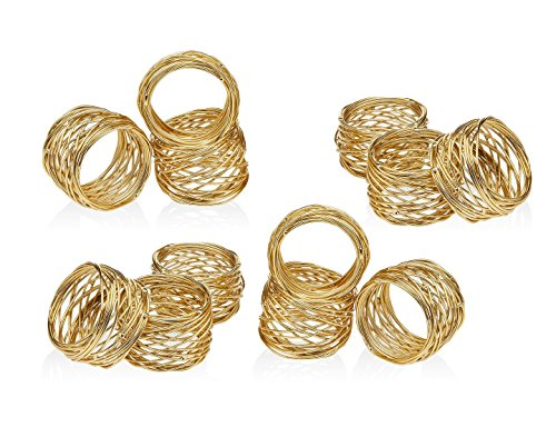 ITOS365 Handmade Round Mesh Gold Napkin Rings Holder for Dinning Table Parties Everyday, Set of 12