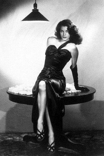 Ava Gardner 24x36 Poster The Killers iconic sexy pose sitting on table