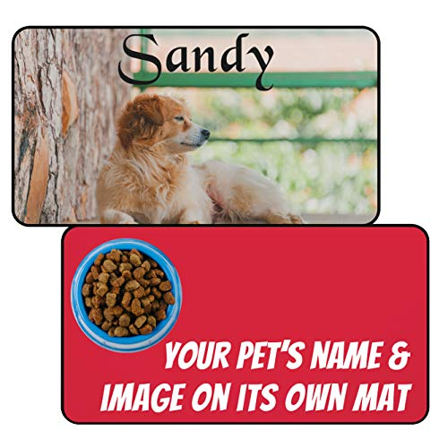 """Custom Large Dog Feeding Mats (12""""x22"""") - Add Photo, Picture and Pet's Name - Personalized Food and Water Bowl Placemat for Dogs"""
