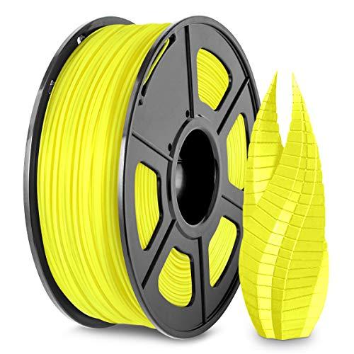 3D Printer PLA Filament 1.75, SUNLU Yellow PLA Filament 1.75mm, Fit FDM 3D Printer, 1KG Spool, Dimensional Accuracy +/- 0.02 mm, PLA Yellow
