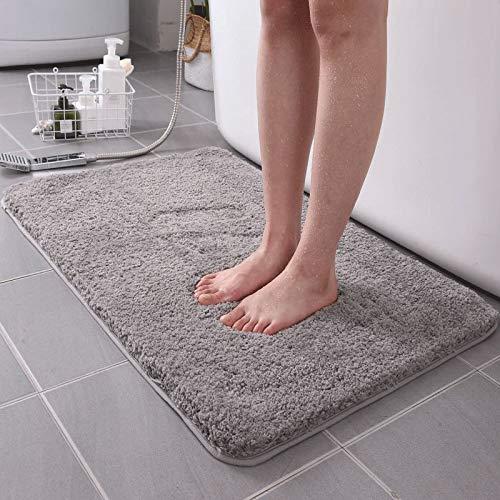 KELOFO Alfombra Baño, Antideslizante de Microfibra Alfombrilla Baño Lavable a Máquina Alfombrilla de Baño, 40 x 60 cm Gris