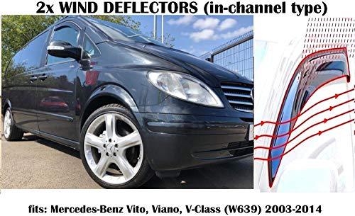 OEMM 2er-Set Windabweiser kompatibel mit Mercedes Viano Vito W639 Panel, Van, LAV, MPV, TAXI 2003 2004 2005 2006 2007 2008 2009 2010 2011 2012 2013 2014 Seitenblenden