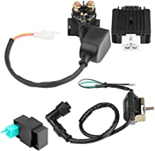 Terisass Ignition Coil Regulator Rectifier Starter Relay Ignition Coil CDI Box Motorcycle Ignition Module Replacement Accessories Fit for 50cc 70cc 90 110cc ATV Quad