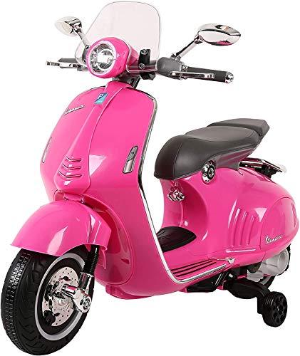 Mondial Toys Moto ELETTRICA per Bambini Vespa 946 Piaggio 12V con Sedile in Pelle LUCI Suoni Pink