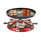 Home Equipment Raclette Grills Double Layers Smokeless Baking Oven Electric BBQ Grill Heating Stove Pan Barbecue Iron Non Stick Plate EU (Color : Black)