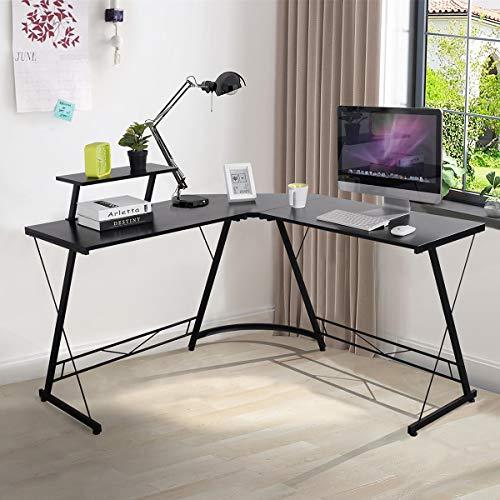 Escritorio convertible para juegos en forma de L, moderno y resistente mesa de ordenador con gran estante para monitor para estación de trabajo, dormitorio, sala de estar, color negro
