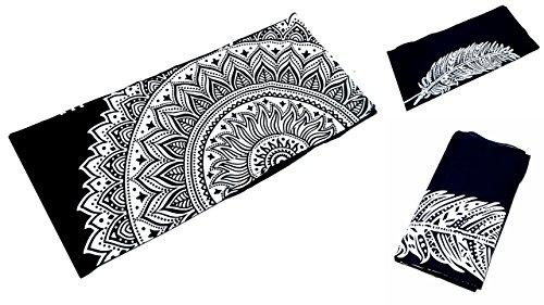 Unbekannt Grande Ambe Premium sábana sábana cama de ropa de cama 100% algodón 210x 230cm blanco y negro Ornament elegante nº B