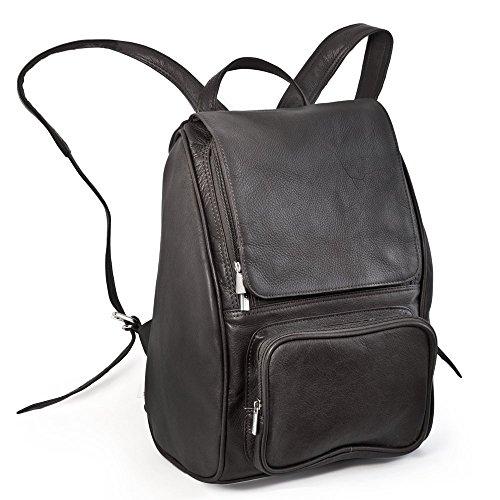 Mittel-Großer Lederrucksack Größe M Laptop Rucksack bis 14 Zoll, für Damen und Herren, Schwarz, Jahn-Tasche 710