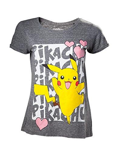 Pokemon Pikachu - Liefde Meisjes Shirt Gevlekt Grijs S