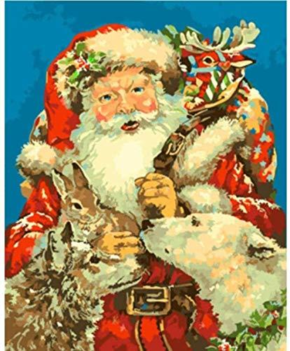 HAO Disegni da colorare di Babbo Natale Kit Dipinti a Mano Disegno su Tela Immagini ad Olio Fai-da-Te con Numeri Decorazione Natalizia per la casa Regalo -Pittura Dipinta a Mano 40x50cm Senza Telaio
