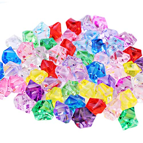 Piedras de hielo trituradas falsas, 600 cubos de hielo de plástico con diamantes para jarrón relleno de pecera, para decoración de fiesta y boda (mezcla de colores)
