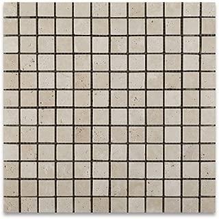 Ivory Travertine 1 X 1 Tumbled Mosaic Tile - Box of 5 sq. ft.