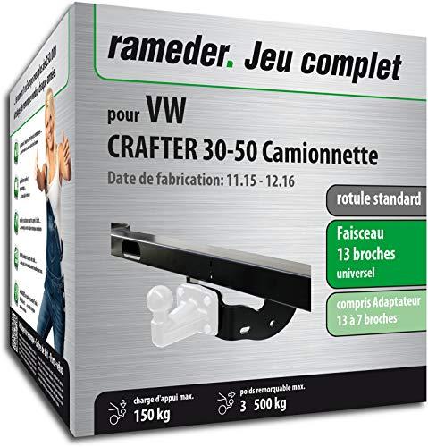 Rameder Pack, attelage rotule Standard 4 Trous livrée sans rotule + Faisceau 13 Broches Compatible avec VW Crafter 30-50 Camionnette (161519-05529-3-FR).