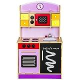 Best For Kids Kinderküche Spielküche W10C112 violett aus Holz mit Zubehör Super Qualität aus MDF Platte