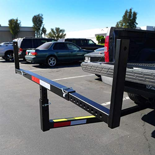 SUNCOO Pick Up Truck Bed Hitch Extender Adjustable Steel Extension Rack with Flag for Boat Lumber Long Loads Ladder Rack Canoe Kayak Long Pipes Lumber Black