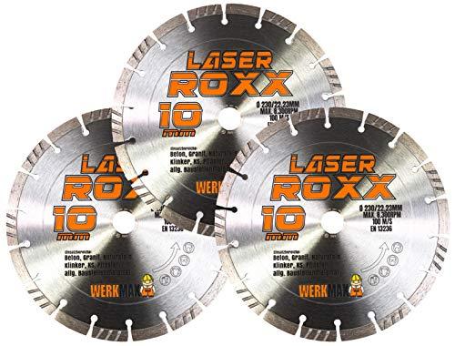 3er-SET | Neuentwicklung: Laser ROXX Diamantscheibe 230 mm | universal