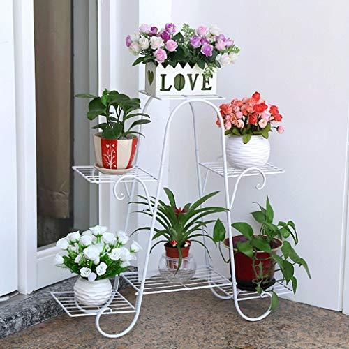 Support à fleurs Six couches en fer Art Cadre à fleurs Moderne Simple Créatif Balcon intérieur et extérieur Jardin Salon (Couleur : Blanc)