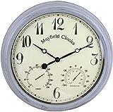 tuobaysj Mayfield Living Garden Reloj de Pared Reloj de Cocina Diámetro 38 cm Exterior Antracita Gris Termómetro Resistente a la Intemperie Humedad Exterior