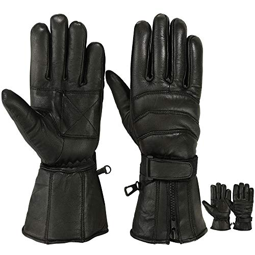 Mens Motorbike Gloves Cold Weather Motorcycle Riding Glove Genuine Leather Black (M)