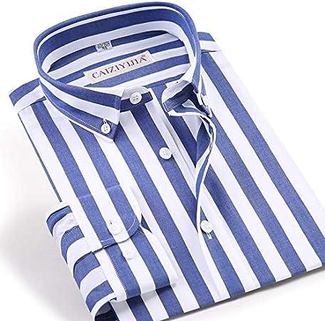 Camisa de Vestir de Rayas Azules/Blancas de Manga Larga de ...