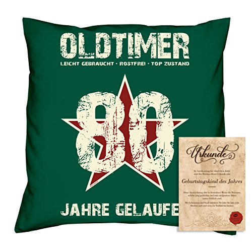 Sofakissen mit Füllung Geschenk für Männer zum 80 Geburtstag Motiv Oldtimer 80 Geburtstagsgeschenk + Urkunde Farbe:dunkelgrün