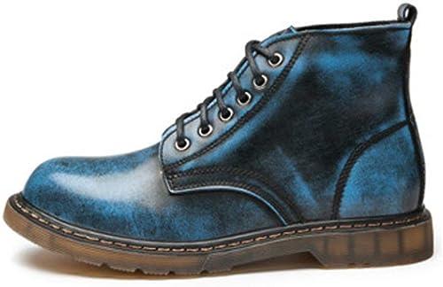 Hhor Bottines Montantes Montantes en Cuir à Lacets pour Hommes en Cuir Classique (Couleur  gris, Taille  39 EU) (Couleuré   Bleu, Taille   38 EU)  belle