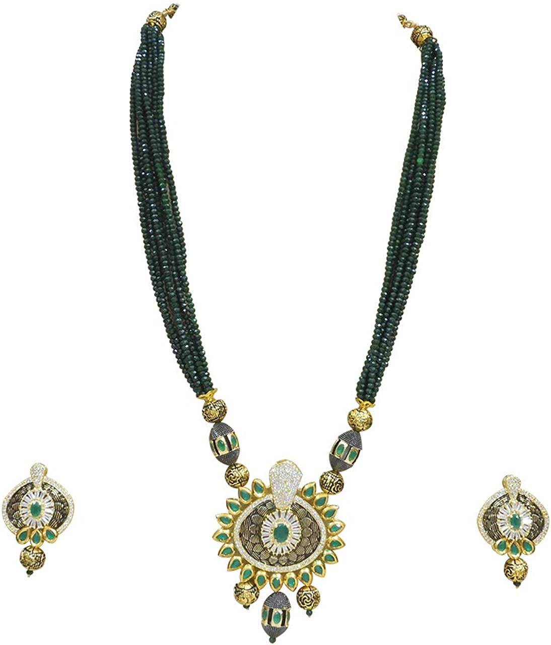 Babosa Sakhi Green Beaded Necklace Indian Ethnic Fusion Pendant Set Traditional Jewellery
