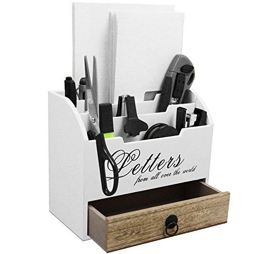 Pratico organizer da scrivania con 3scomparti in legno e 1cassetto portalettere, realizzato in stile Shabby, colore: bianco e naturale