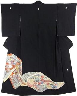 リサイクル 着物 正絹 袷 黒留袖 草子 四季花に金鶏 裄65.5cm 身丈161cm