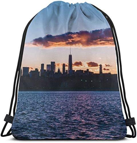 KINGAM Sackpack New York Usa Night City Panorama Mochila con cordón para mujer y hombre