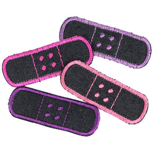 Flicken Pflaster Set 4 Bügelflicken 3 x 8,3cm Jeans Patches zum Aufbügeln als Hosenflicken lila pink violet
