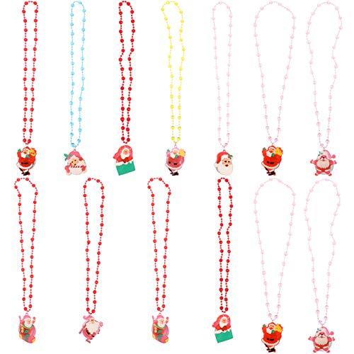 NUOBESTY 13 collares de Navidad con dibujos animados de Papá Noel colgante de cadena luminosa para regalo de mujer y niña (estilo aleatorio)