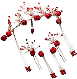 Olici Bridal Wedding/Prom Hair Pins/Headdress Accessories/Party/Girls Red Ornaments Flowers Jewelry Palace.
