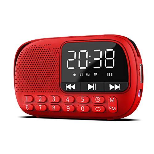 Pagaria WALKIE Portable Alarm Clock FM Radio, with Bluetooth, Earphone, Voice Recording, USB/TF Playback (Red)