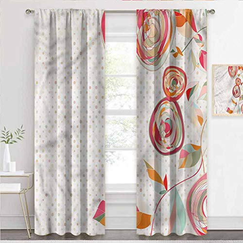 Draperies & Curtains Floral, Flower Petals Buds Dots Home Decoration Drape Turned Your Bedroom Into A Dungeon W84 x L72 Inch