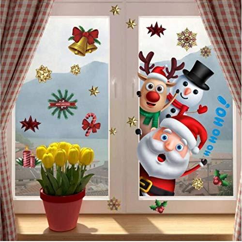MNJKH Door stickers mural,Christmas Bell garland wall stickers Store supermarket window glass decorations Christmas Door stickers