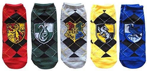 Hyp Harry Potter House Crests Argyle Pattern Juniors/Womens 5 Pack Ankle Socks