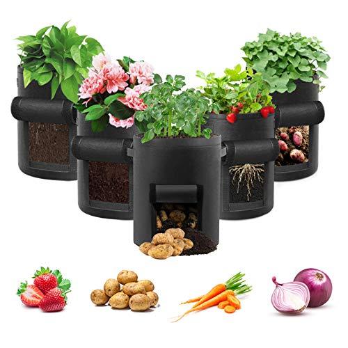 Potato Grow Bag, 5 Pack 10 Gallon Vegetable Grow Plant Bags Breathable...
