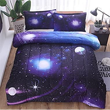 YOUSA 3d Galaxy Comforter Set Bedspreads/Coverlet Sets Outer Space Bedding Sets (Full/Queen,01)