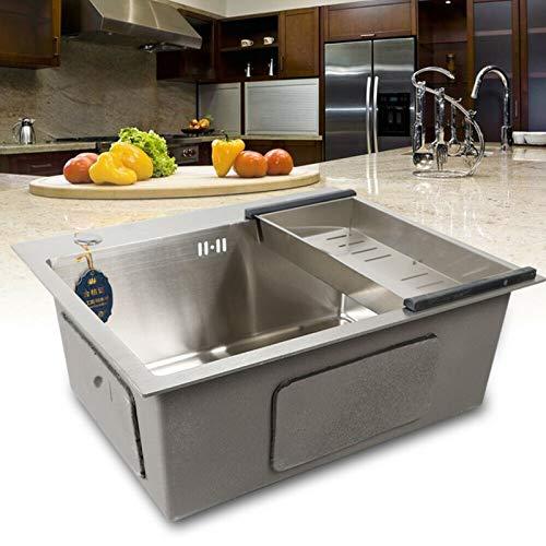 Fregadero de cocina de acero inoxidable con escurridor, fregadero de cocina cuadrado, con desagüe de agua, resistencia a la corrosión (tamaño del fregadero: aprox. 50 x 36 x 22 cm)