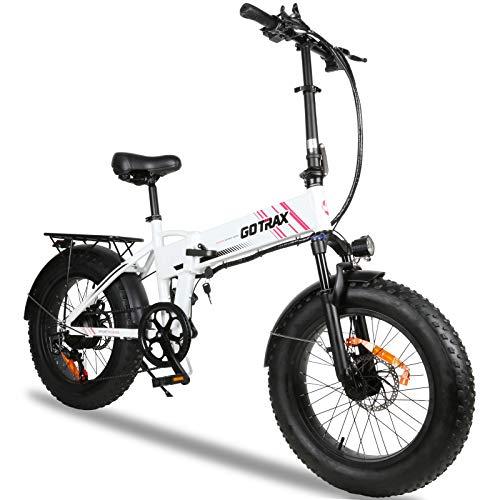 Gotrax Fat Tire Electric Bike 20' - 20MPH & 50 Mile Range - 350W Motor - 7 Speed Folding E-Bike(White)