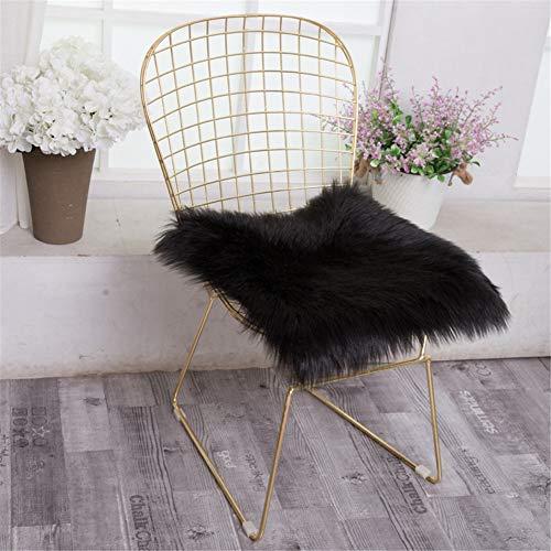 Martin Kench Faux Lammfell Schaffell Sitzauflage, Longhair Fell Optik Sitzkissen Lammfellimitat Teppich Nachahmung Wolle Bettvorleger Sofa Matte (Schwarz,45 x 45 cm)