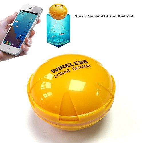 LENPABY Bluetooth Fischfinder 36 m Sonar-Sensor Übertragung auf iPhone, iPad, iOS, Android, Smartphone Tablet mit Neopren-Tasche für Meeressee, Angeln, Eisfischen, Kajak, Boot und Ufer Angeln